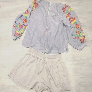 Anthropologie embroidered top w open back tassels
